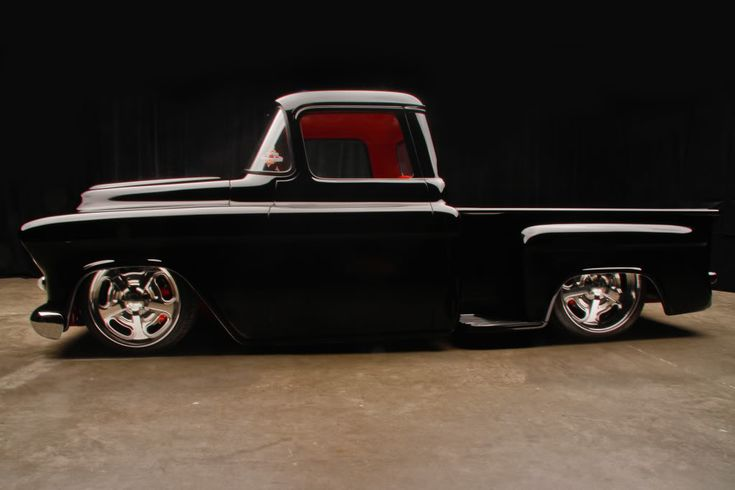 A 57 chevy truck we built a few years ago with the C6 corvette chassis to fit.