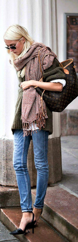 Big scarf, big sweater