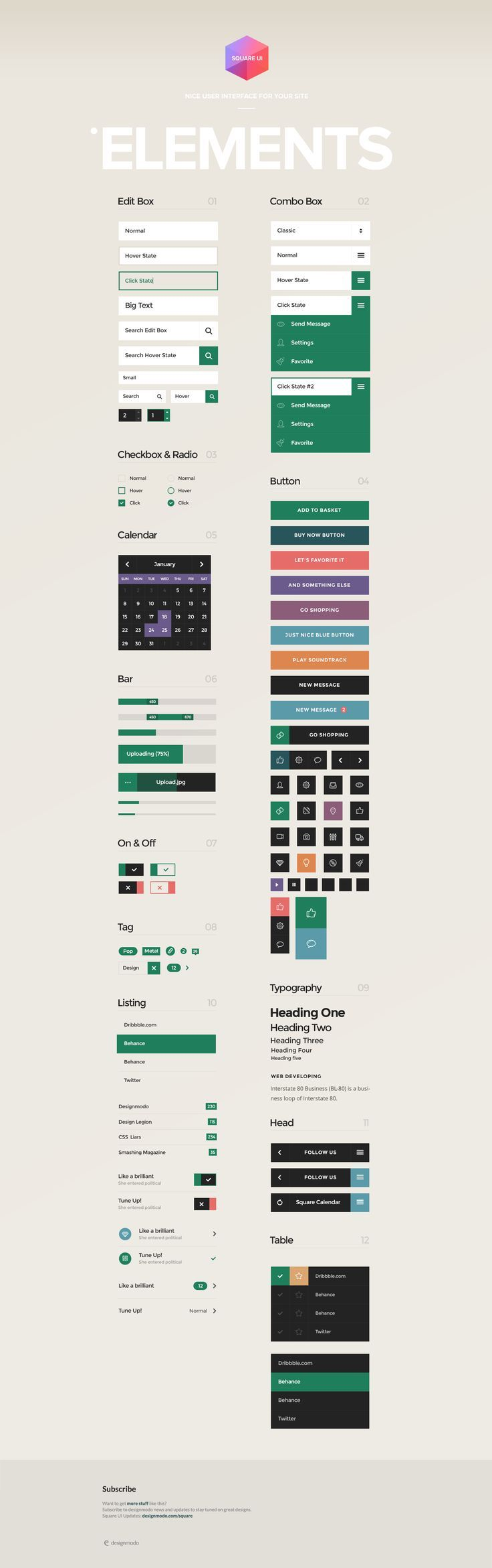 Square UI User Interface Kit For more Components, Typography -> http://designmodo.com/square/
