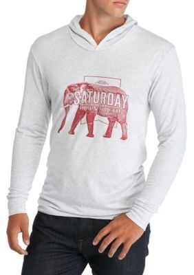 Saturday Down South Men's Elephant Hoodie Tee - Heather White - L