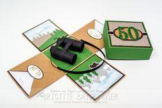 """Es geht weiter mit neuen Explosionsboxen – soeben habe ich eine Box fertiggestellt, die als Geburtstagsgeschenk für einen Jäger verwendet wird. Bei denSeitenwänden war relativ schnell klar, dass diese mit Landschaft/Bäumengestaltet werden soll. Das neue Stanzformen- und Stempelset """"Always anAdventure"""" war dafür bestens geeignet.Im Zentrum der Box war ein Fernglas gewünscht. Also hab ich mich"""