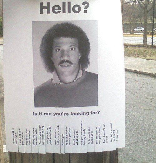 lionel richie missing posterHello, Lionel Richie, Laugh, Street Art, Songs, Funny Stuff, So Funny, Eye, Streetart