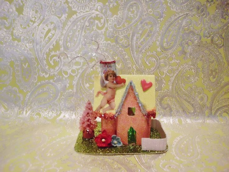 Vintage Valentines Day Inspired Cardboard Putz House with Cupid and Hearts Pink Bottle Brush Tree MANY LISTED Make a Custom Village by laughterandlemondrop on Etsy