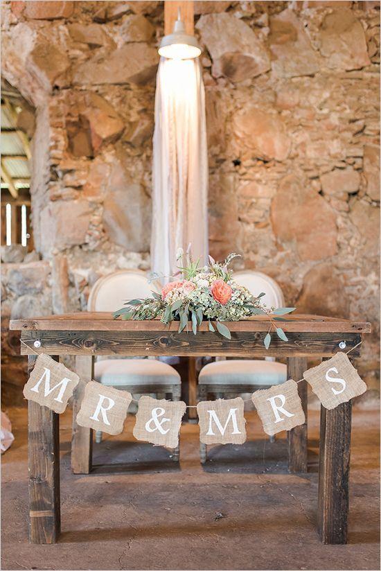 rustic sweetheart table wedding ceremony decor - Deer Pearl Flowers / http://www.deerpearlflowers.com/wedding-ceremony-decor/rustic-sweetheart-table-wedding-ceremony-decor/