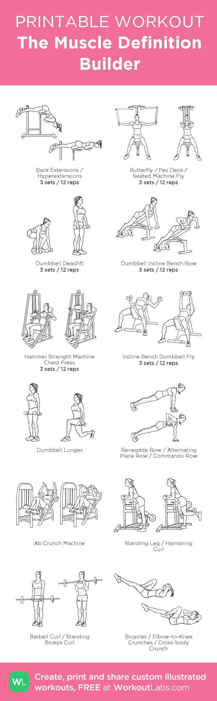 The Muscle Definition Builder –my custom workout created at WorkoutLabs.com • Click through to download as printable PDF! #customworkout