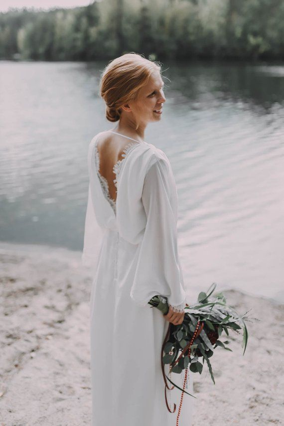 Long sleeve bohemian wedding dress, open back wedding dress