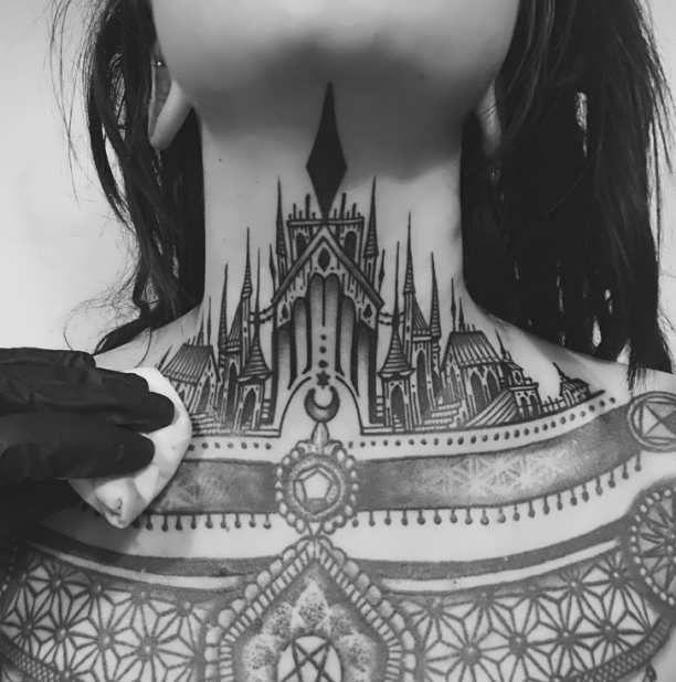 Chest Neck Tattoo Woman  - http://tattootodesign.com/chest-neck-tattoo-woman/  |  #Tattoo, #Tattooed, #Tattoos