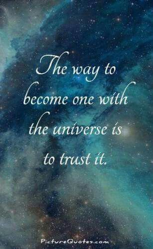 """The way to become one with The Universe is to trust it."""