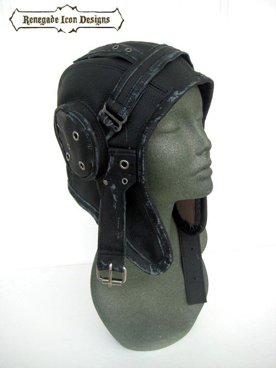 aviator, hat, flight cap, tank gir, leather, distressed, steampunk, costume: Renegade Icon Designs on Etsy, $148.00