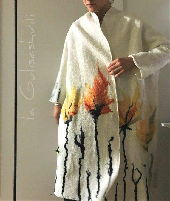 Women coat, oversized , wearable art, nuno felted coat, designer coat, Handmade, felted jacket, eco-fashion, Felted clothing, Wedding