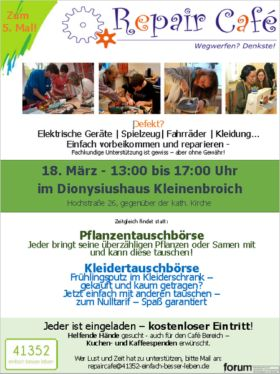 Repair Café & mehr: Das 5. Repair Café in Korschenbroich › Klartext-NE.de