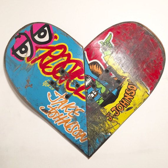 Gifts for skateboarders,skateboard furniture,hearts,wall art,recycled skateboards,gifts made of wood,cool christmas gifts, wood heart