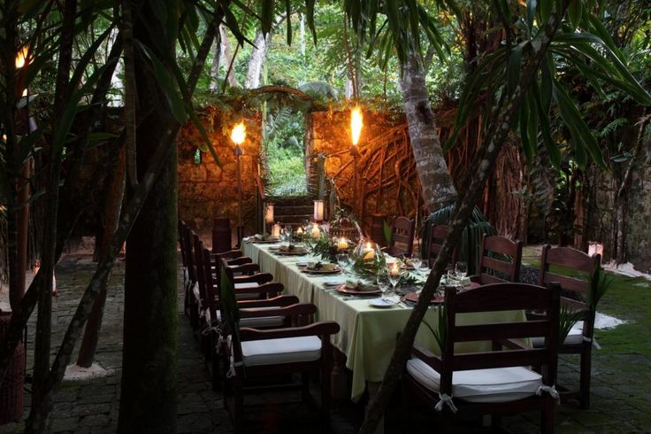 Tropical themed dinner setup in the jungle themed for Tropical themed house