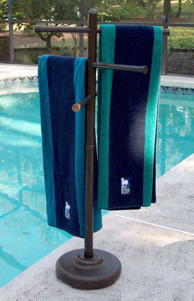 No Rust Bronze Look Outdoor Towel Rack Pool HotTub Swimming Holder Stand Sturdy