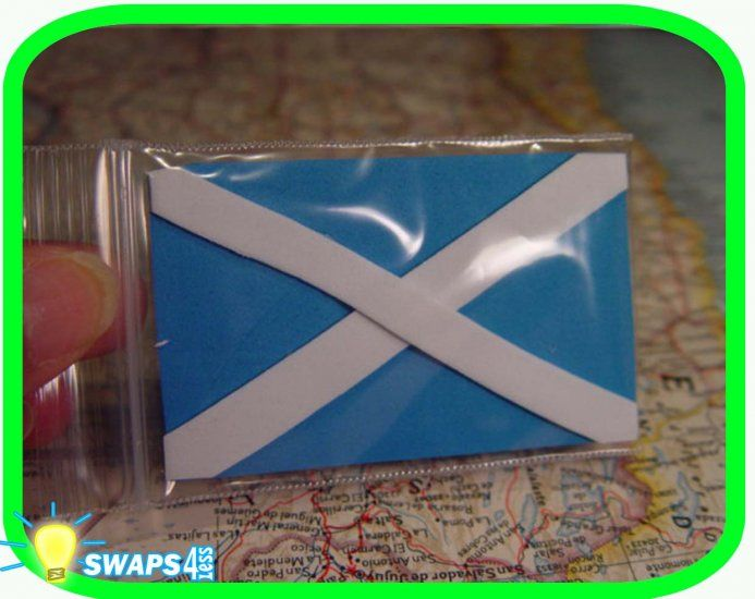 Flag of Scotland - Thinking Day     These cute, nice quality Flag of Scotland swaps are made of craft foam and protected by 2 x 3  zip lock baggies. T