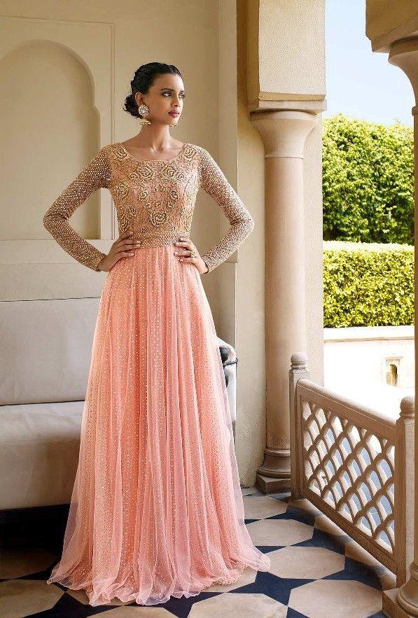Peach designer party wear dress with dupatta