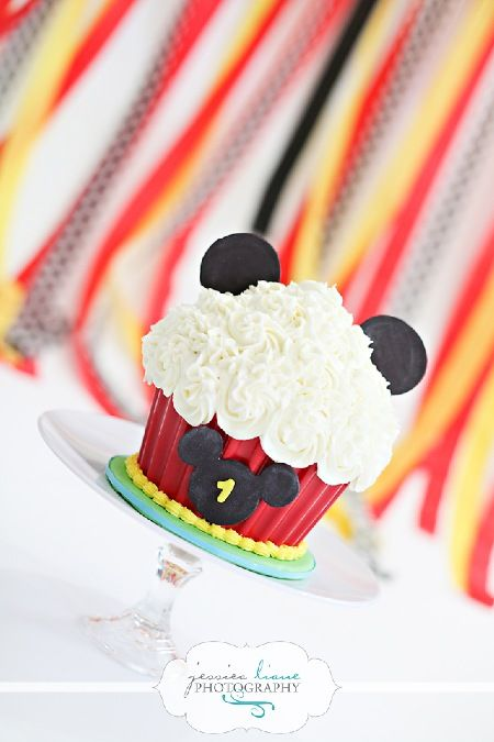 Mickey Mouse Giant Cupcake Smash Cake,  small cake, first birthday by Sweet Lola Cake Pops