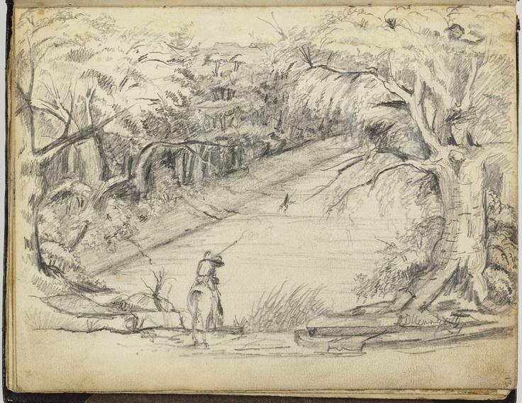 Sketch from an album by Joseph Herrgott from John McDouall Stuart Expedition, 1859