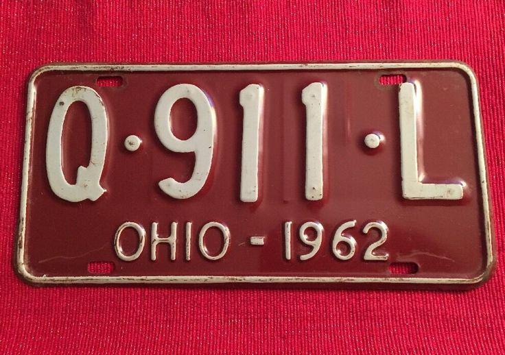 Vintage OHIO 1962 AUTO CAR LICENSE PLATE  # Q • 911 • L