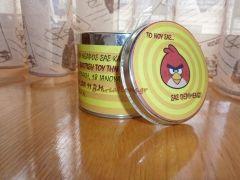 #ΒΑΠΤΙΣΗ ⁞ Μεταλλικό κουτί πρόσκληση-μπομπονιέρα.. angry bird !