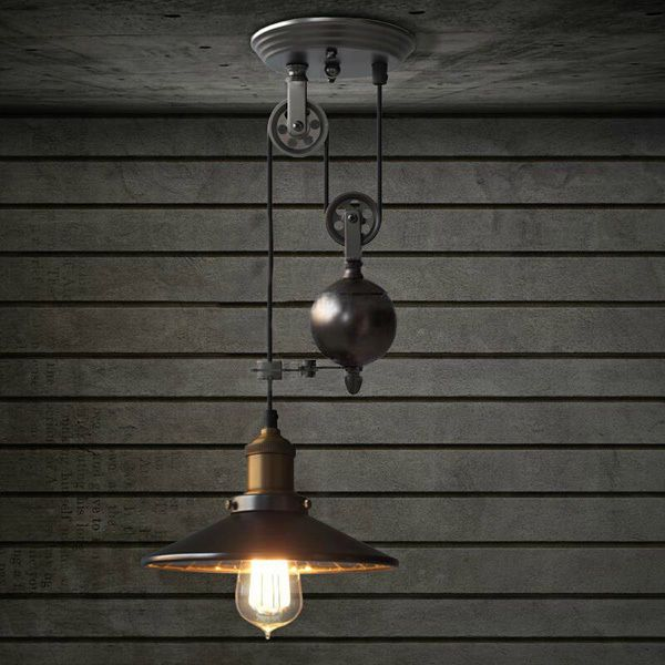 E27 Industrial Retro Pulley Pendant Light Restaurant Bar Ceiling Hanging Lamp Fi #Unbranded