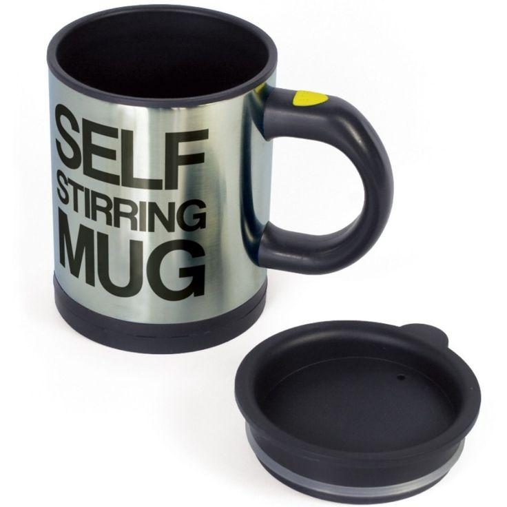 """Una tazza che si mescola da sola, ecco cos'è questa """"Self Stirring Mug"""". Metti caffè, latte e zucchero, (o quello che più ti piace) schiaccia il bottone e lascia che lei faccia tutto il resto! SEGUICI ANCHE SU TELEGRAM: telegram.me/cosedadonna"""