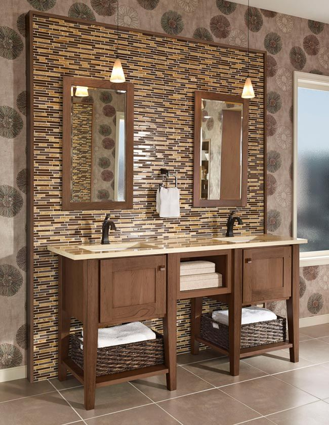 a rich mix of textures distinguishes this striking bath start with a console vanity in