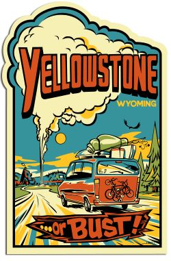 Get a free Yellowstone sticker and travel guide from the