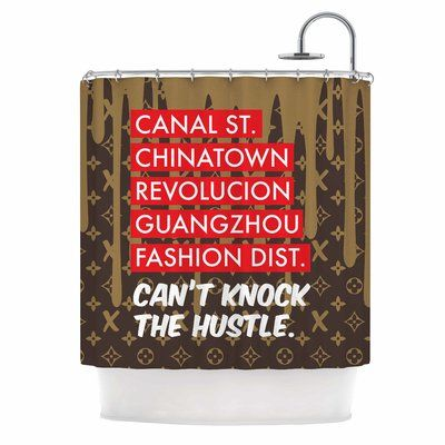 East Urban Home 'Can't Knock the Hustle' Urban Shower Curtain Color: Brown/Red