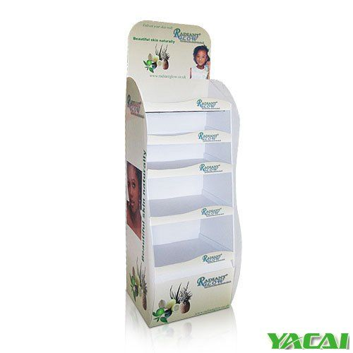 Skincare Floor Display with 5 trays holding 25kg Durable Cardboard Display with steel bars under each shelf can bear at least 25KG structure and sizes can be customized contact us now how we can FREE design for you! http://www.popyacai.com/Cardboard_Display/Cardboard_Countertop_Displays/POS_cosmetic_display_stand.html