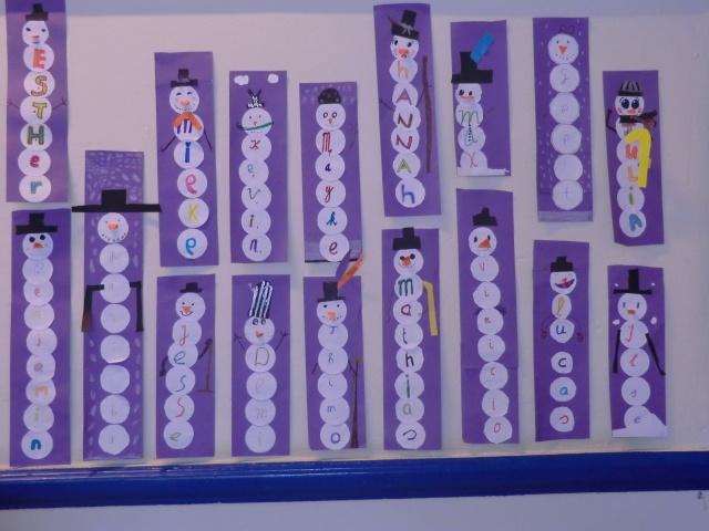 sneeuwpoppen, ontstaan uit letters van de namen van de kinderen...