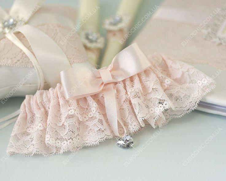 Подвязка невесты SWEETY SPARKLE пудровая