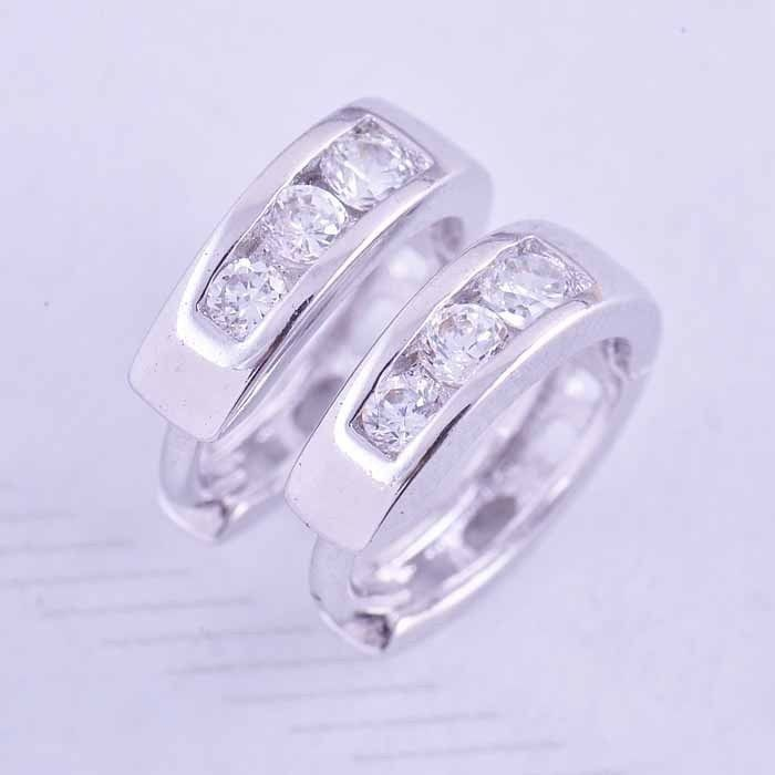 9K white gold filled hoop earrings with clear CZ,  13mm x 11mm x 3.5mm (coming soon)