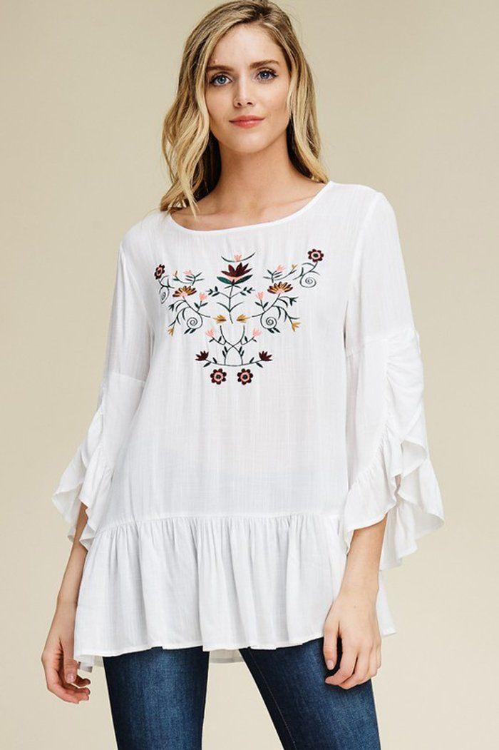 98cdd0e955bc4 Carmen Ruffle Bell Sleeve Tunic Top : White – GOZON Boutique ...