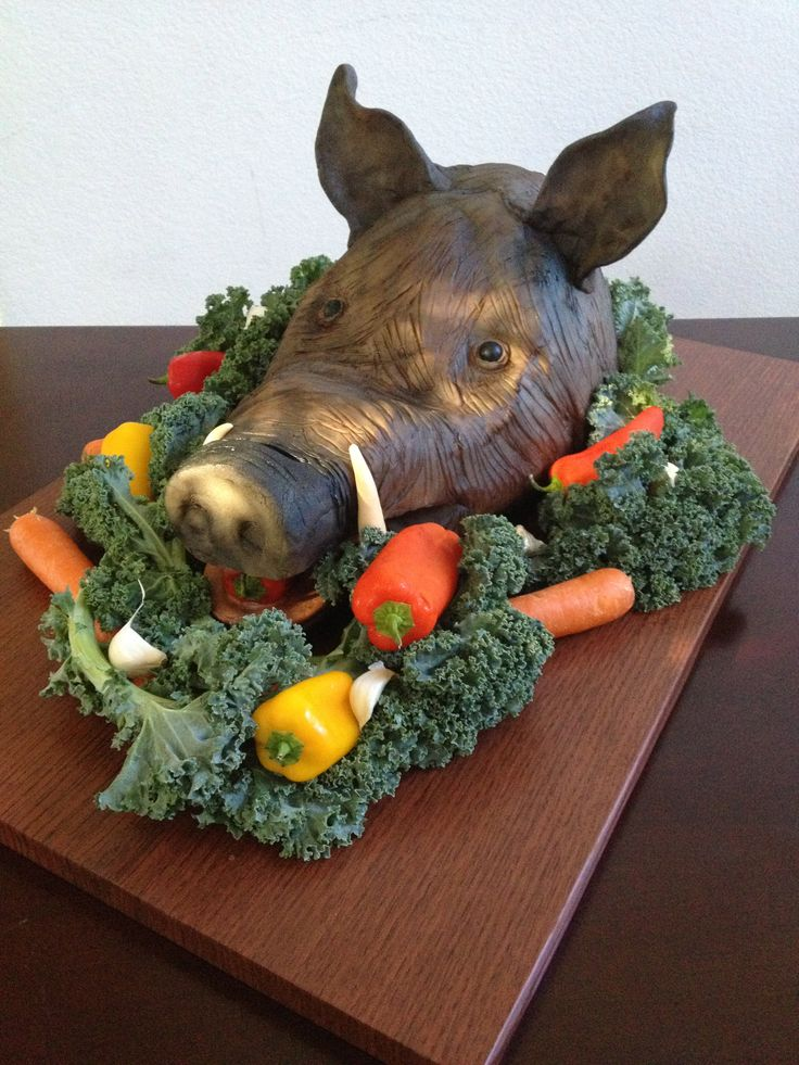Boar S Head Cake For Medieval Feast Decorated With