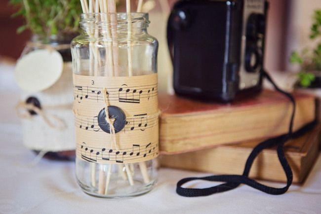 vintage wedding, DIY sheet music and twine mason jars, french chateau wedding, vintage cameras, hand made wedding ideas, wedding centerpieces photos by blanc coco photographe