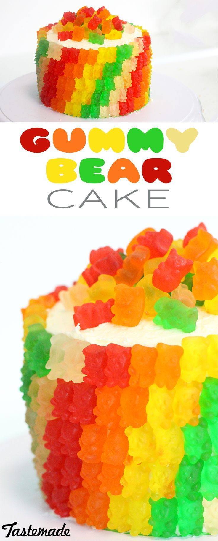 Gummy Bear Cake. Take Funfetti cake to the next level of fun with colorful frosting and gummy candy.