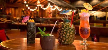 Tonga-Room at the Fairmont Hotel in San Francisco.  Great happy hour, all you can eat buffet and live music.