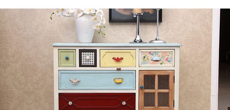 Американская страна древесины Вход Кабинет Питание стороне шкафа Средиземноморский ретро сделать старые античные ящики цветные гардероб шкафчики - Taobao