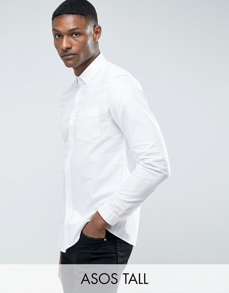 ASOS TALL Skinny Casual Oxford Shirt In White - White