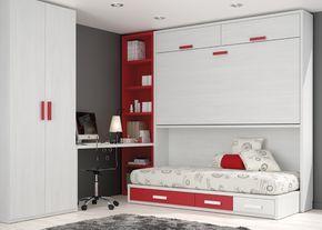 Kids Touch 72 Abatibles Juvenil Camas Abatibles: Habitación juvenil con cama abatible, cama nido, armario y escritorio.