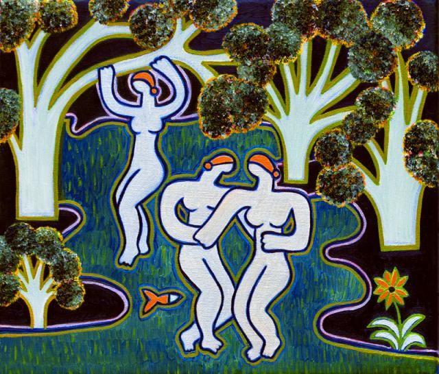Les Baigneuses de Bellinzona, Effet du Soir (d'après Corot), 2012. Oil on linen, 30 x 36 cm. Private collection. #painting #oilpainting #finearts #contemporaryart #cristinarodriguez