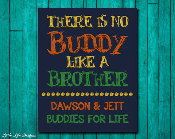 There is no Buddy like a Brother. Little Boys Wall Art. Children's Wall Art. by LittleLifeDesigns