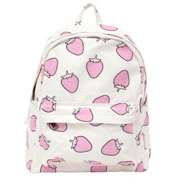 Bag: cute pink white backpack cool strawberry kawaii kawaii ❤ liked on Polyvore featuring bags, backpacks, accessories, pink backpack, white bags, backpacks bags, rucksack bag and knapsack bags