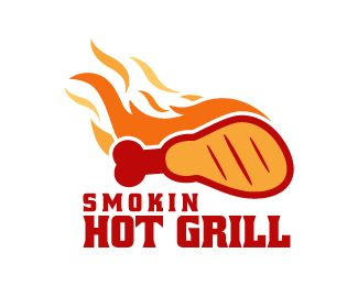 Smokin Hot Grill Logo design - Creative and stylized logo design of chicken leg with some fire on it in a very unique style, it is like the smoking hot barbecue chicken. Attractive and simple design in red, yellow and orange color theme. This design can be useful for food trucks, hotel, restaurant, fried chicken center and more. Price $250.00