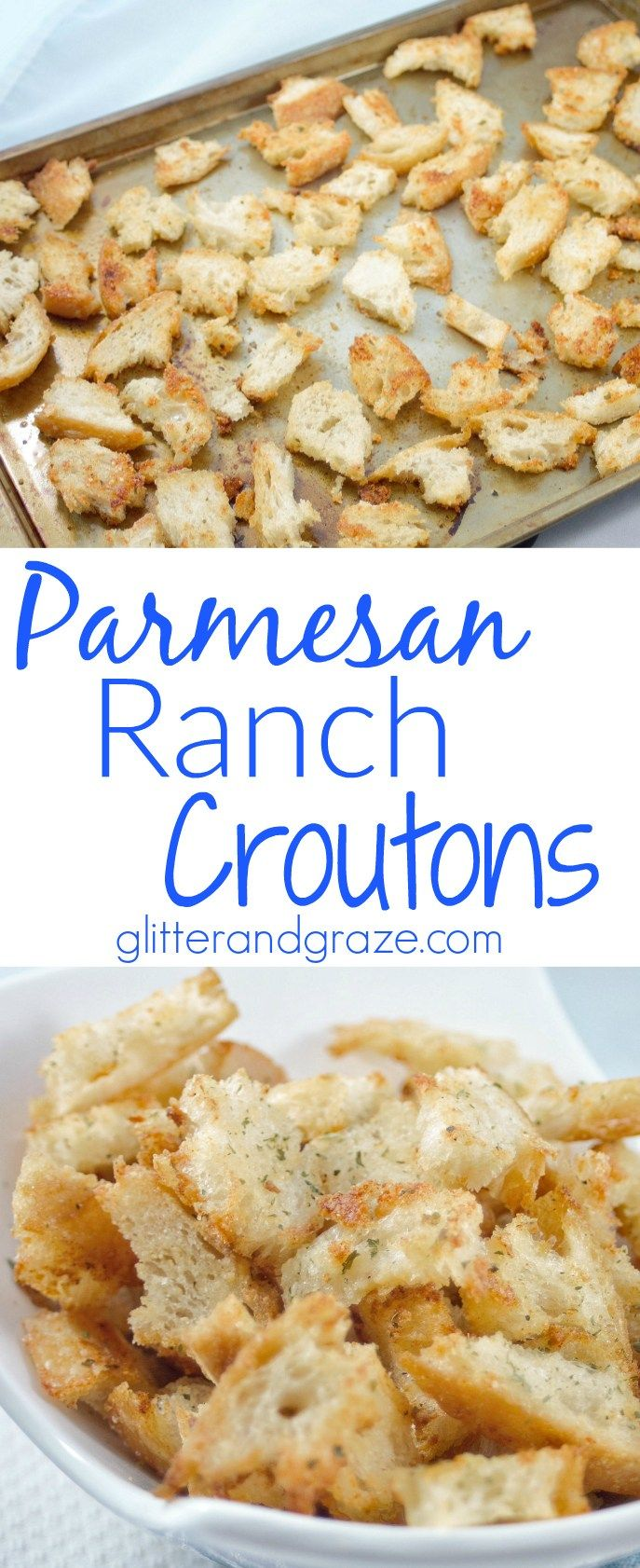 Easy to make homemade croutons with a tangy twist.  You'll love these Parmesan ranch croutons you won't be able to stop eating them