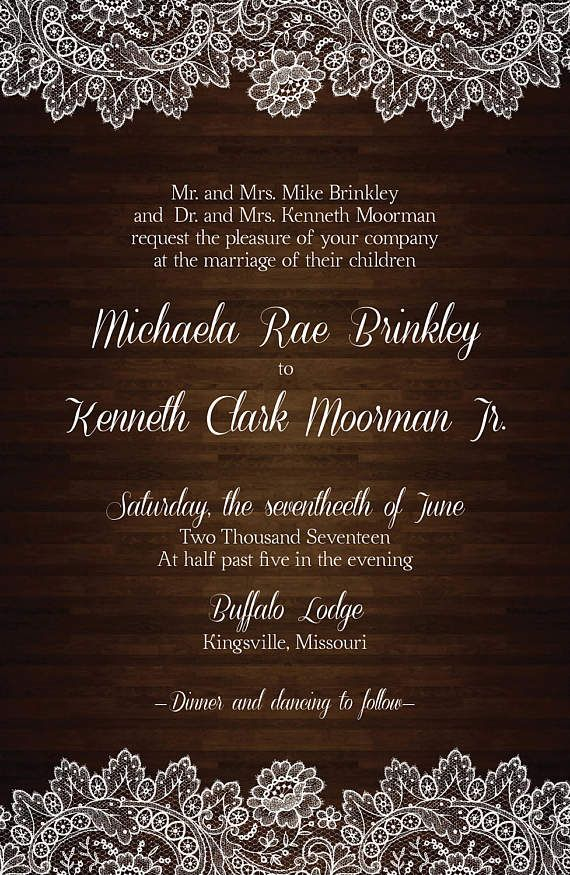 addressing wedding invitations married woman doctor%0A Rustic wood and lace wedding invitation set