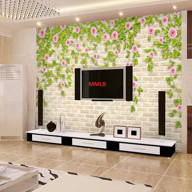 Beautiful Bricks Wallpaper And Lcd Cabinet Design Id854 Lcd