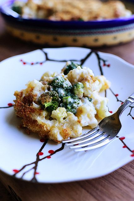 Broccoli-Cauliflower Casserole! No rice, no pasta---just cheesy, veggie goodness.