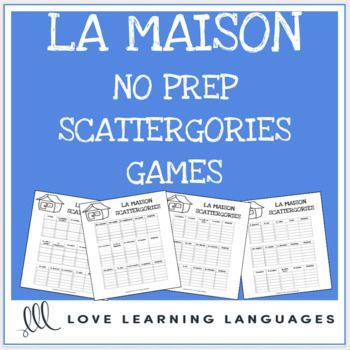 La Maison printable no prep scattergories game – French vocabulary game